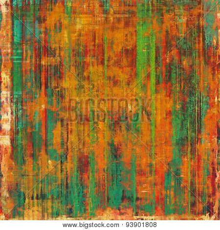 Dirty and weathered old textured background. With different color patterns: brown; green; blue; red (orange)