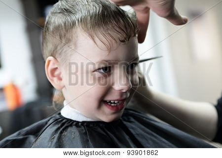 Laughing Kid At Barbershop