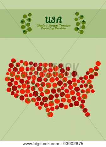 USA map made made out red tomatoes. Tomato background. Vegetable poster.