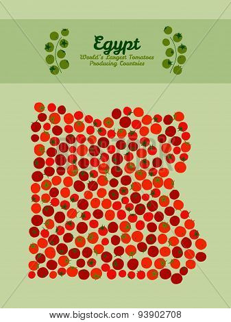 Egypt map made of red tomatoes. Vegan food card. Invitation.