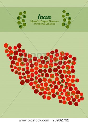 Iran map made made out red tomatoes. Tomato flyer or leaflet. Invitation.