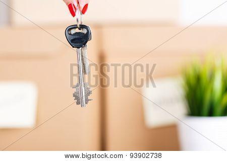 Female Hand Holding Keys