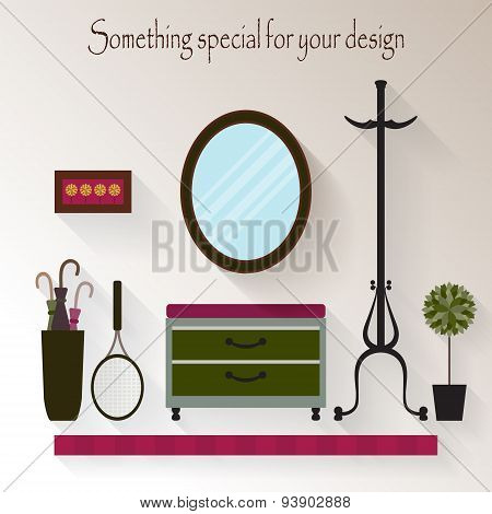 Hallway interior design.Modern furniture: hanger,  bench, mirror, shelf.Flat style vector illustrati