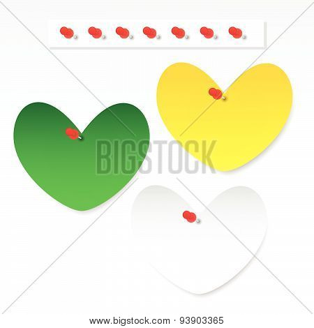Blank Heart Paper Note With Pushpin
