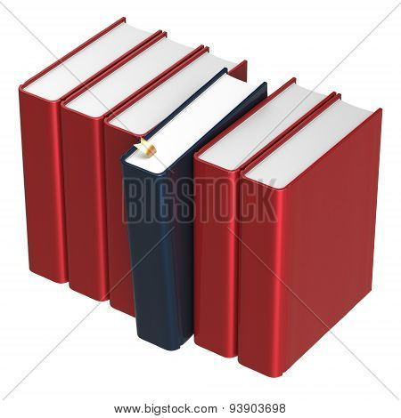 Books Row Blank Red One Black Selected Choosing Answer