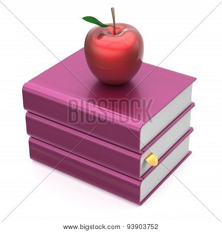 Books Blank Purple And Red Apple Textbook Stack School Icon