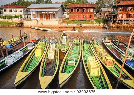 Wooden Boats In Nyaungshwe, Myanmar