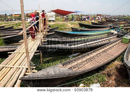 The Local Market In Inle Lake, Myanmar