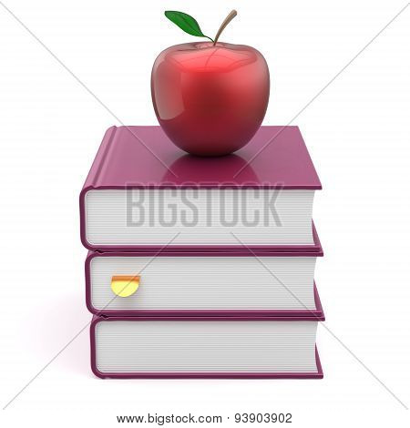 Books Textbook Stack Blank Purple And Red Apple