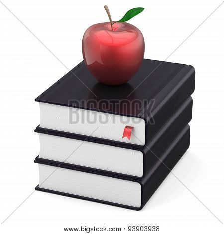 Books Three Black Textbook Stack And Red Apple School Icon