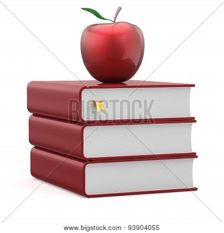 Books Apple Red Blank Bookmarked Textbook Stack Icon