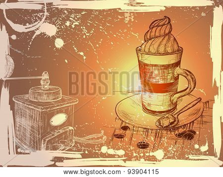 Grunge background with hand drewn cup of coffee and coffee grind