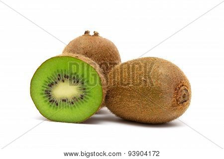 Juicy Ripe Kiwi Closeup On A White Background