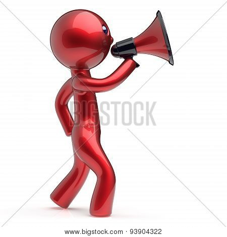 Man Speaking Megaphone News Announcement Character
