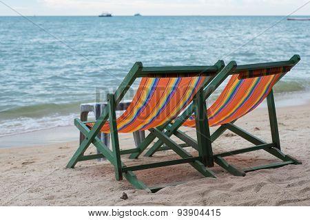 Beach Chairs At Pattaya Beach