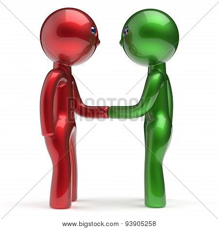 Handshake Two Men Cartoon Characters Business Partners