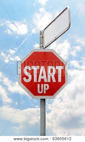 start-up title on stop sign
