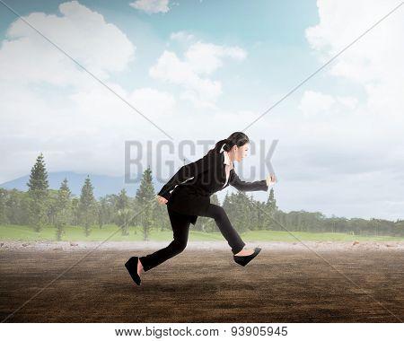 Business Woman Running On Street