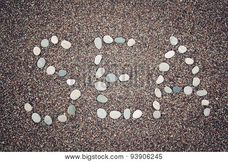 'sea' Word On The Sand. Written With Pebbles. Aged Photo.