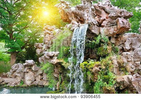 Small Waterfall In Beautiful Park