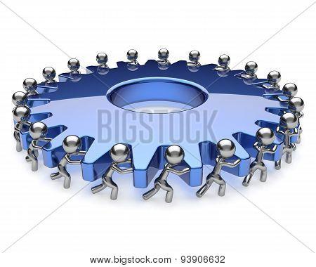 Teamwork Community Business Men Partnership Turning Gear