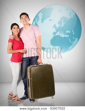 Young Asian Couple Travel Around The World