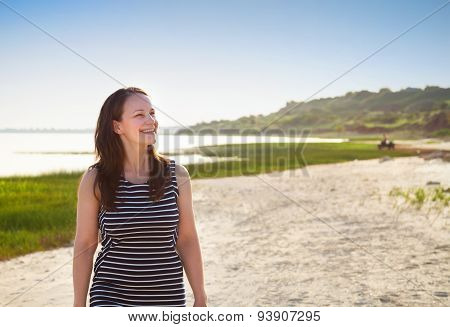 Portrait Of The Young Woman Near The Sea