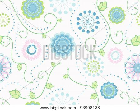 Tender Flowers Textile Seamless Pattern