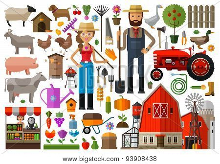 farm, farmhouse, farmyard vector logo design template. harvest, gardening, horticulture or animals,