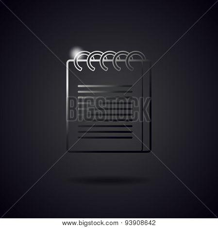 Notepad Black Metal Line Icon