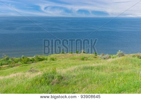 Landscape with Kakhovka Reservoir located on the Dnepr River