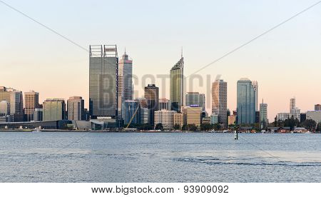 Perth, Australia Skyline Reflected In The Swan River