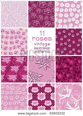 Eleven Seamless Patterns With Stylized Roses