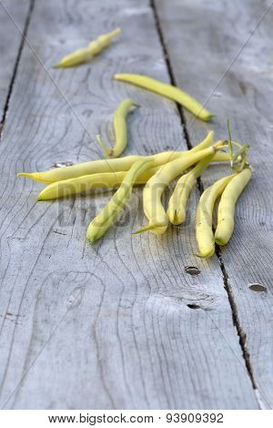 Freshly picked yellow beans from the garden.