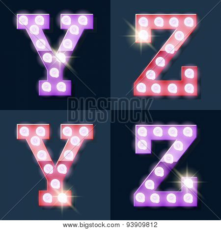 Festive pink and purple vector lamp alphabet for party, cinema and other entertainment. Letters Y Z