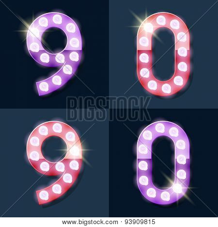 Festive pink and purple vector lamp alphabet for party, cinema and other entertainment. Numbers 9 0