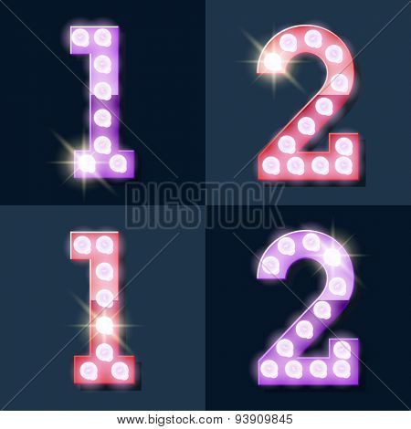 Festive pink and purple vector lamp alphabet for party, cinema and other entertainment. Numbers 1 2