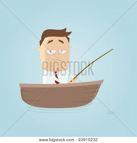 funny businessman on a boat with fishing rod is waiting for a catch