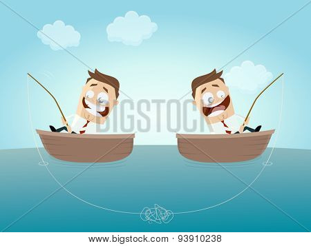 businessmen on boats with knotted fishing line