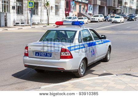 Russian Patrol Vehicle Of The State Automobile Inspectorate On The City Street