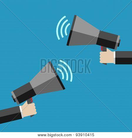 Two Hands With Megaphones