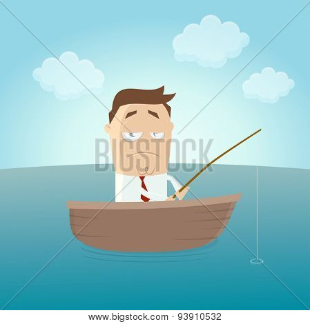 funny businessman on boat with fishing waiting for a catch