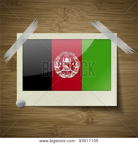 Flags Afghanistan At Frame On Wooden Texture. Vector