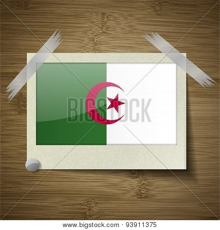 Flags Algeria At Frame On Wooden Texture. Vector