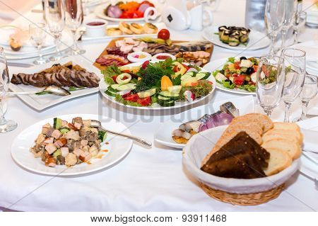 Salads And Cold Cuts At The Banquet Table