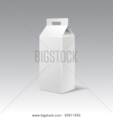 White Cardboard Gift Rectangular Box With Handle.