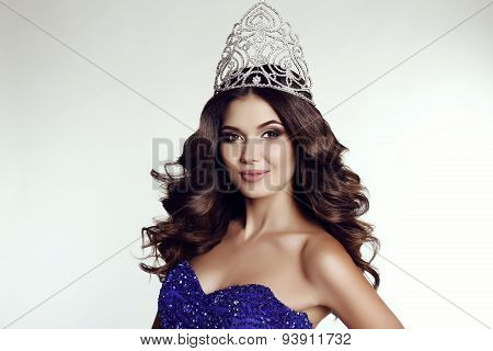 Victress Of Beauty Contest Wearing Luxurious Sequin Dress And Precious Crown