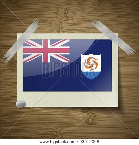 Flags Anguilla At Frame On Wooden Texture. Vector