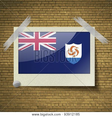 Flags Anguilla At Frame On A Brick Background. Vector
