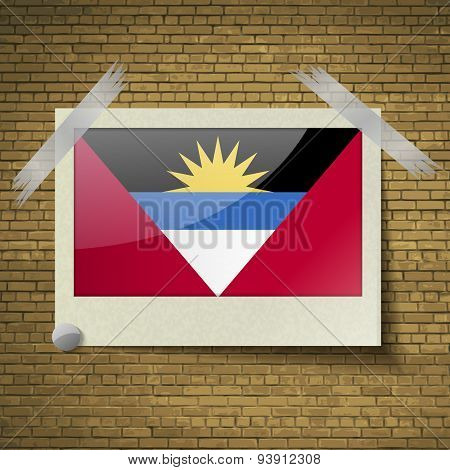 Flags Of Antigua And Barbuda At Frame On A Brick Background. Vector